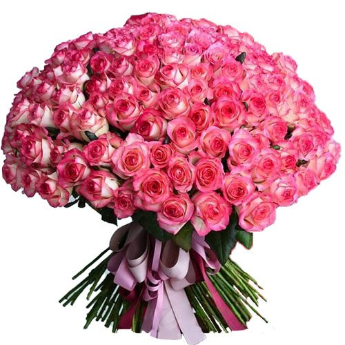 """букет 101 розовая роза """"Джумилия"""" фото"""