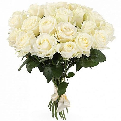 Фото товара 21 белая роза в Ровно