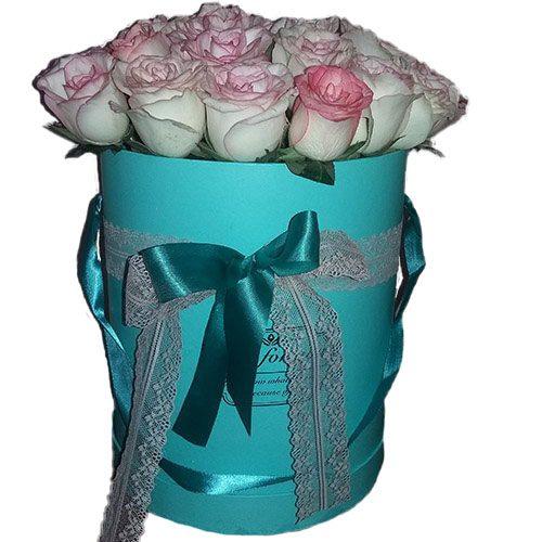 21 элитная розовая роза в фирменной упаковке фото товара