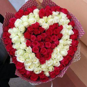 101 троянда три шари у формі серця в Рівному фото