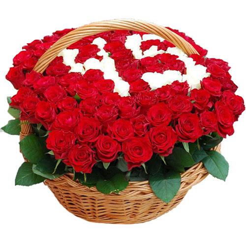 101 роза в корзине с числами фото
