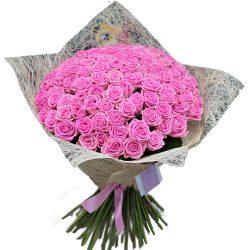 """букет 101 рожева троянда """"Аква"""""""