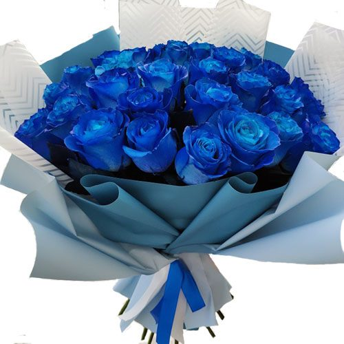 33 сині троянди (фарбовані) фото товару