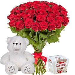 "51 троянда, ведмедик і ""Raffaello"" букет"