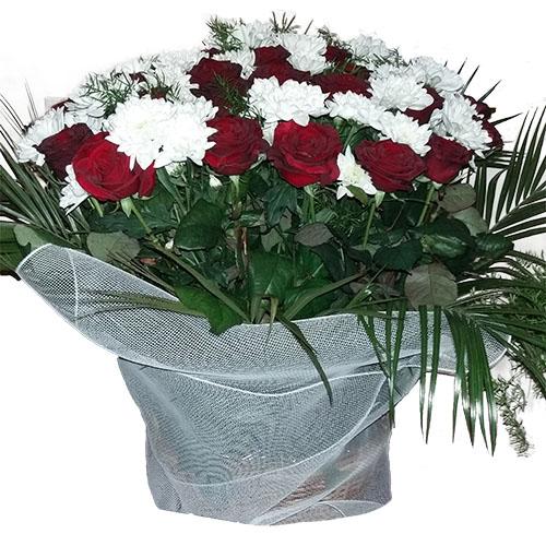 Квіти на похорон - кошик фото