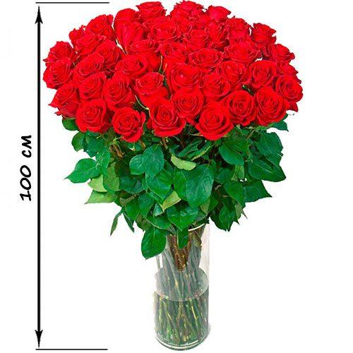 35 високих троянд (100 см) фото букета