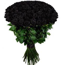 букет 101 чорна троянда фото