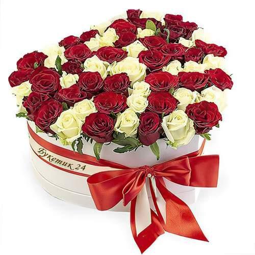 Фото товара 51 роза сердце в коробке в Ровно