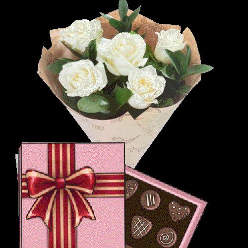 Фото товара 5 белых роз с конфетами в Ровно