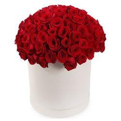 Фото товара 101 троянда червона у капелюшній коробці в Ровно