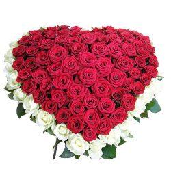 Фото товара 101 троянда серце: червона та біла в Ровно