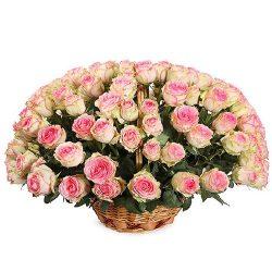 Фото товара 101 рожева троянда в кошику в Ровно