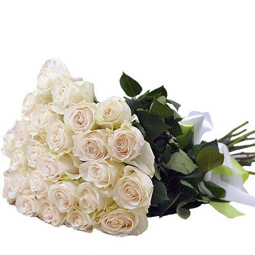 Фото товара 25 білих троянд в Ровно
