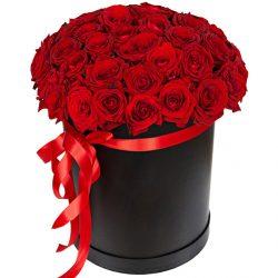 Фото товара 51 троянда червона у капелюшній коробці в Ровно