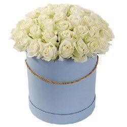 Фото товара 51 троянда біла у капелюшній коробці в Ровно