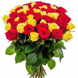 Фото товара 51 троянда: червона і жовта в Ровно