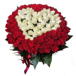 Фото товара Сердце 101 роза красная и белая в Ровно