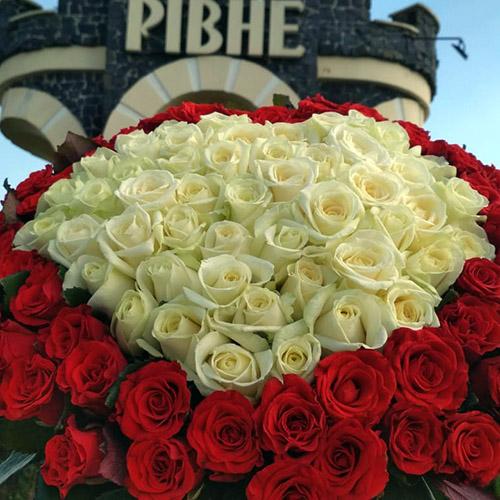 Фото товару Серце 101 троянда червона та біла