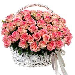 "фото 51 роза ""Джумилия"" в корзине"