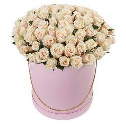 Фото товара 101 кремовая роза в шляпной коробке в Ровно