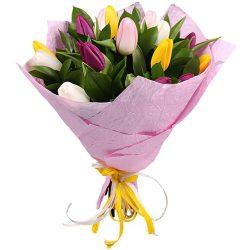 букет 15 тюльпанов микс