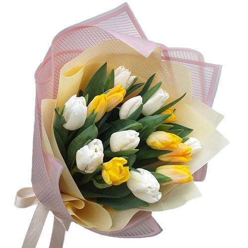 Фото товара 15 бело-жёлтых тюльпанов в Ровно