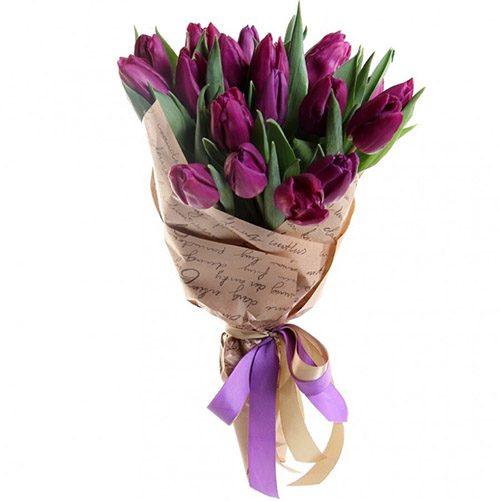 Фото товара 21 пурпурный тюльпан в крафт в Ровно