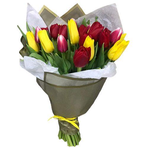 Фото товара 21 красно-жёлтый тюльпан в двойной упаковке в Ровно