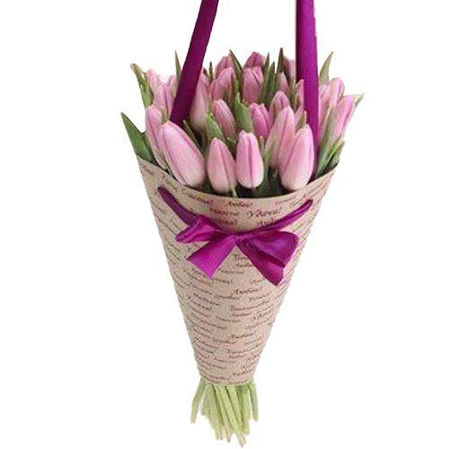 Фото товара 25 ніжно-рожевих тюльпанів в Ровно