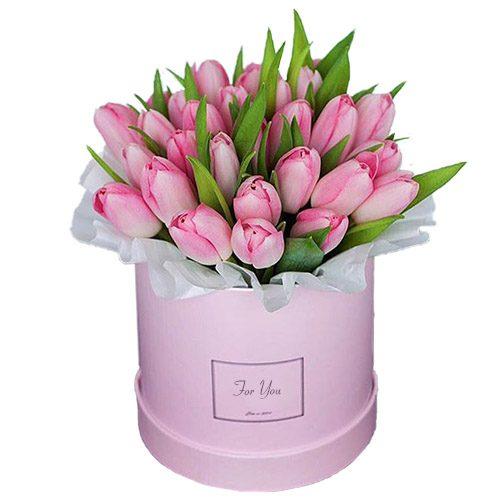 Фото товара 31 нежно-розовый тюльпан в коробке в Ровно