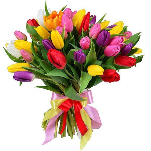 """Фото товара 35 тюльпанов """"Радужный микс"""" с лентой в Ровно"""