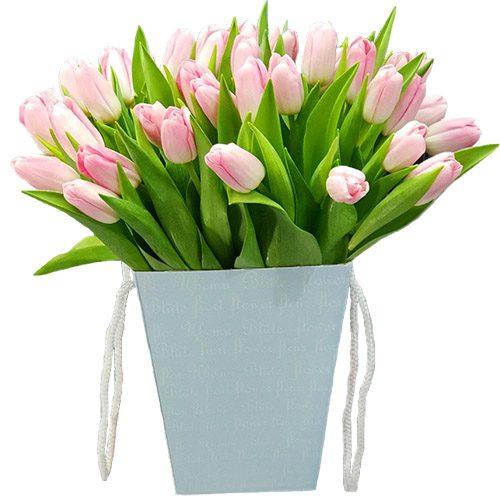 Фото товара 35 тюльпанов в квадратной коробке в Ровно
