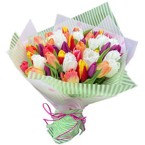 """Фото товара 45 тюльпанов """"Махровый микс"""" в Ровно"""