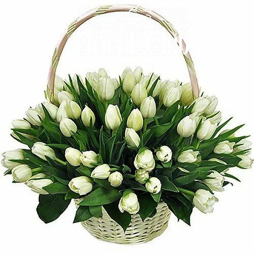 "Фото товара ""Сахарная вата"" 51 белый тюльпан в корзине в Ровно"