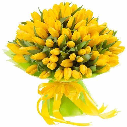 """Фото товара 75 жовтих тюльпанів """"Сяйво золота"""" в Ровно"""