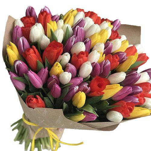 Фото товара 101 тюльпан микс (4 цвета) в крафт в Ровно