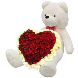 Фото товара 101 роза и большой мишка в Ровно