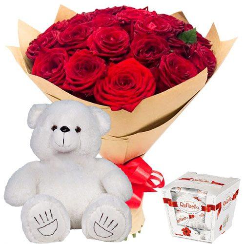"""Фото товара 25 роз, """"Raffaello"""" и мишка в Ровно"""