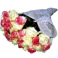 Фото товара 33 кремовые и розовые розы в Ровно