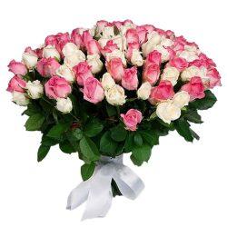 Фото товара 101 белая и розовая роза в Ровно